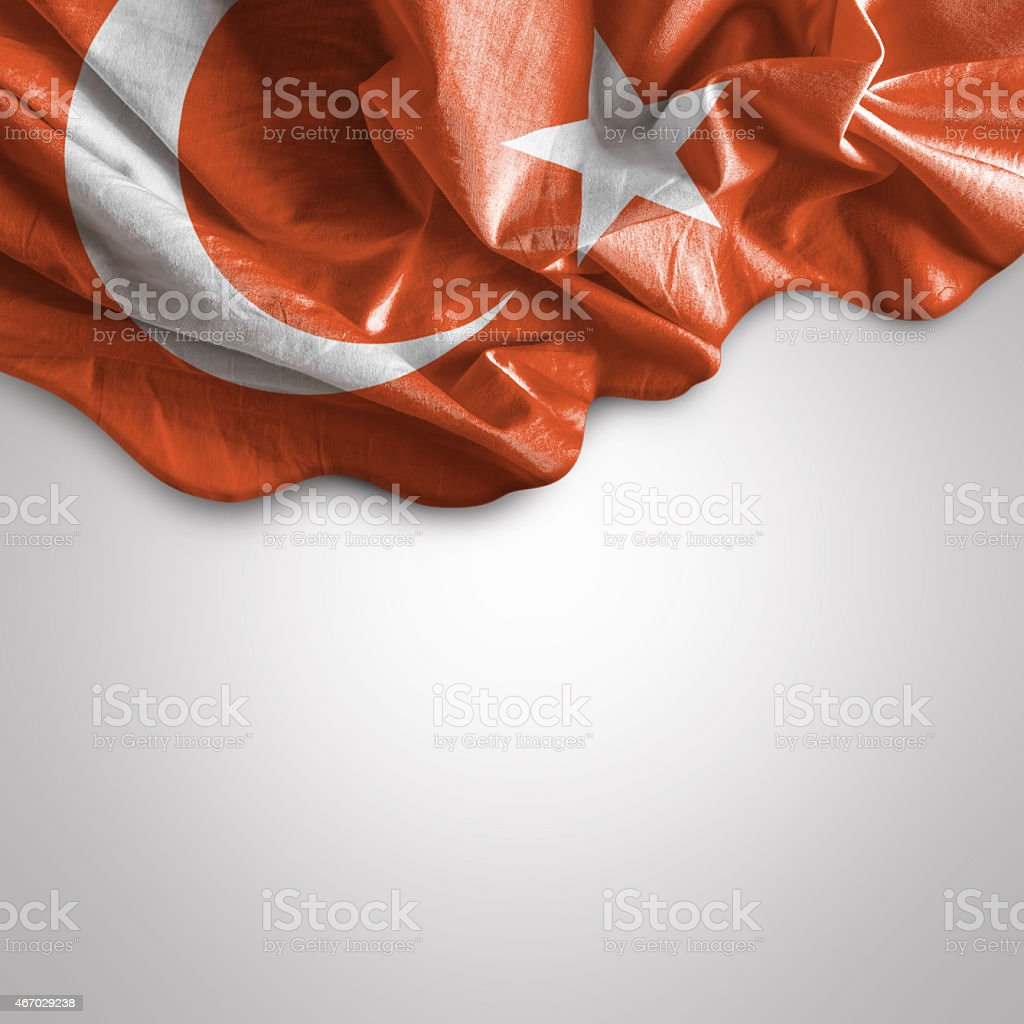Crumpled red and white flag of Turkey stock photo