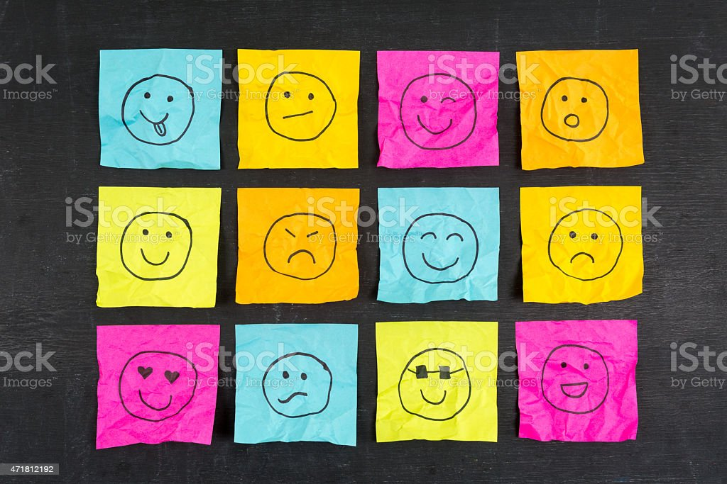 Crumpled Sticky Note Emoticons stock photo