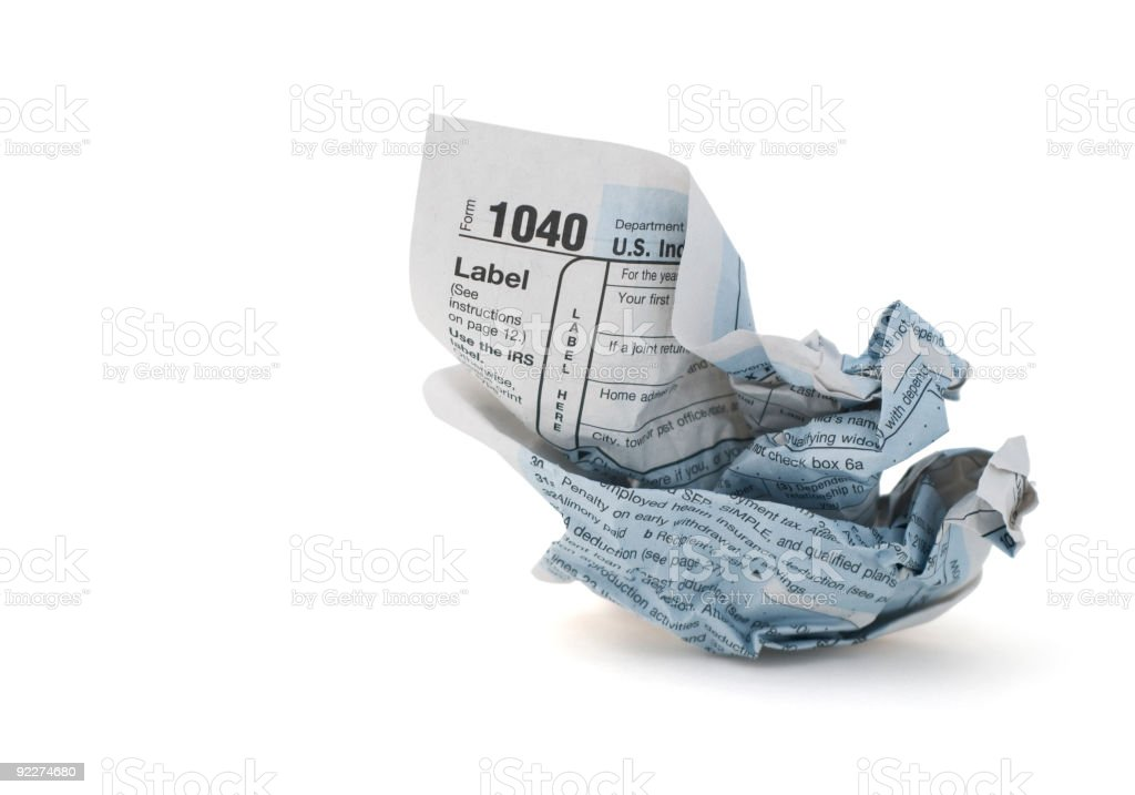 Crumpled Tax form royalty-free stock photo