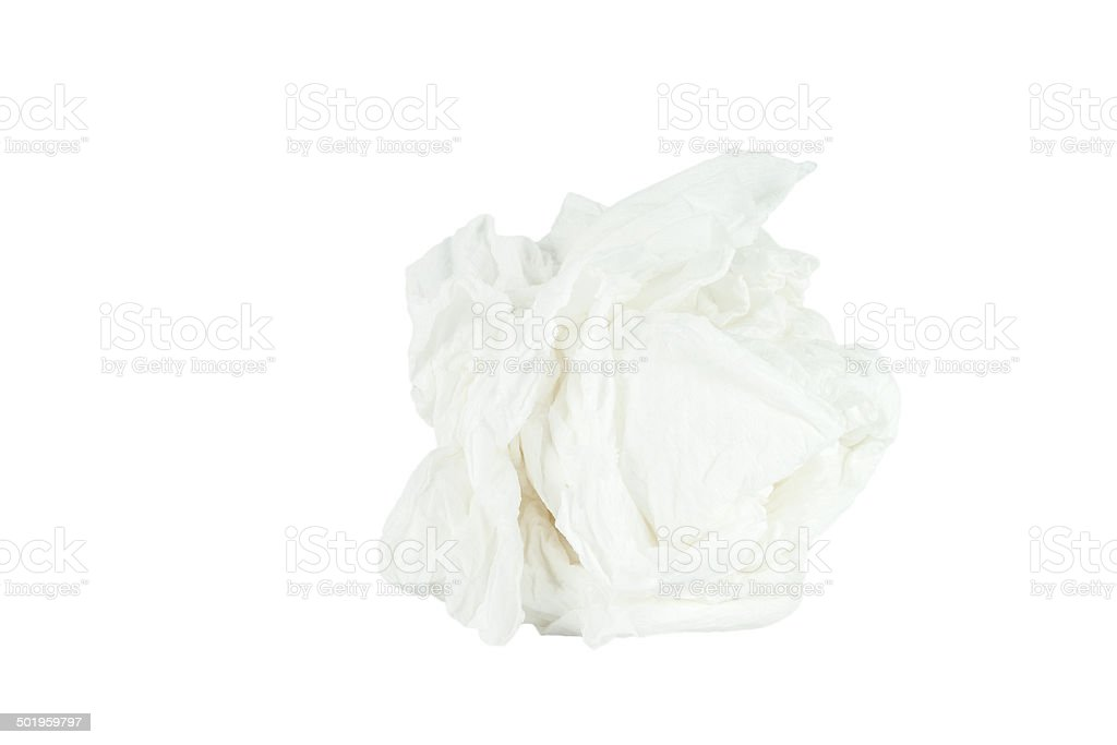 Crumpled tissue paper isolated white background. stock photo