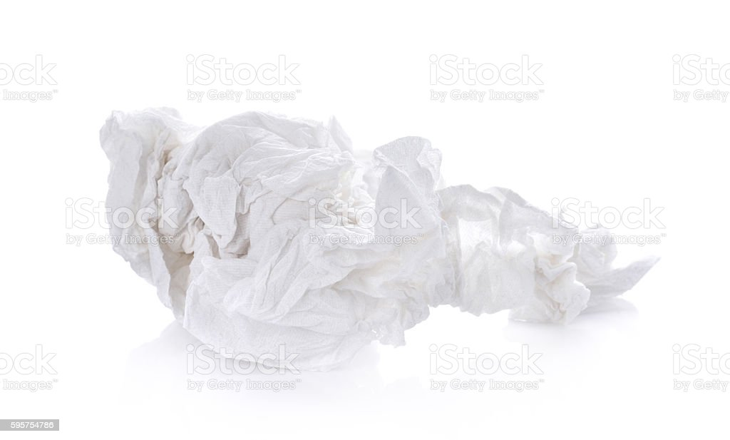 crumpled tissue paper on white background stock photo