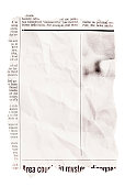 Crumpled torn out newspaper clipping with blank space