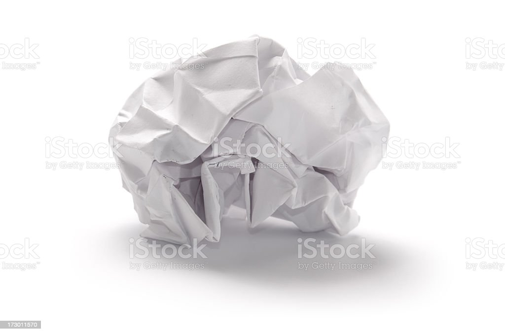 Crumpled torn paper isolated on white royalty-free stock photo