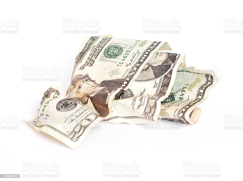 Crumpled Twenty Dollar Bills royalty-free stock photo