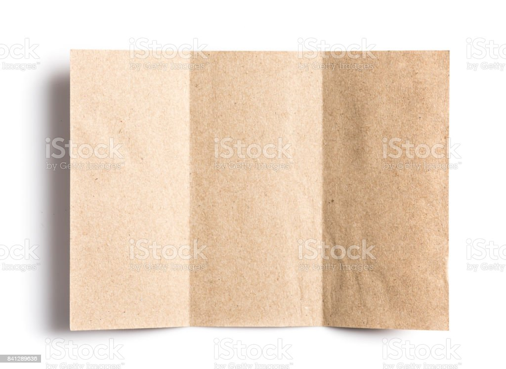 Crumpled unfolded piece of recycled paper pad on white background stock photo