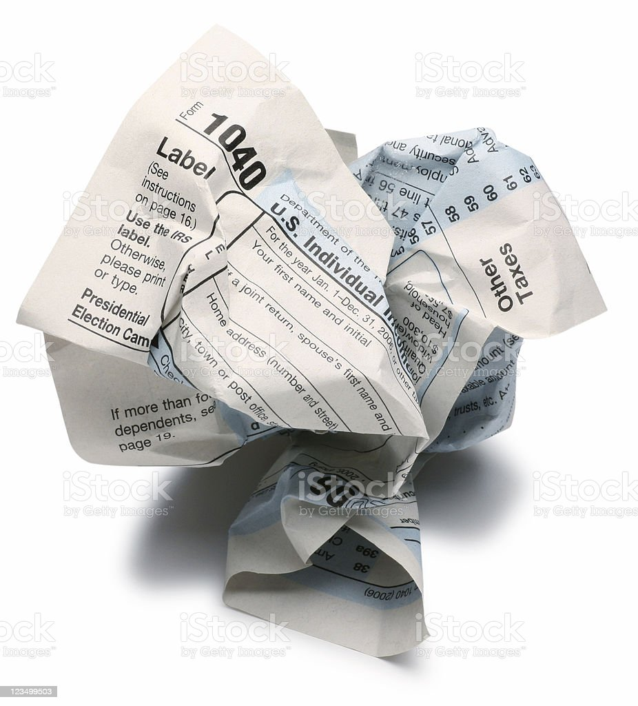 Crumpled up 1040 Tax Return royalty-free stock photo