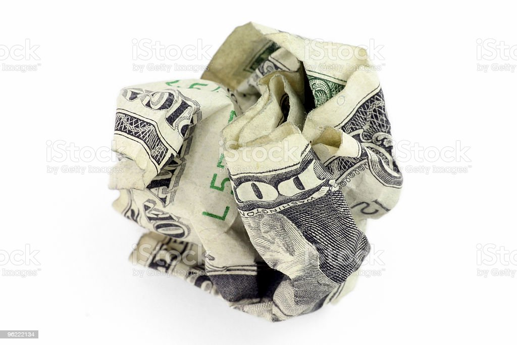 crumpled usa dollar ball royalty-free stock photo