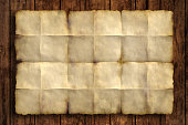 Crumpled Vintage Paper on Wooden backgrounds