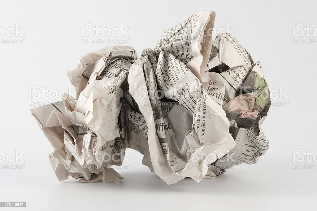 Crumpled wad of paper for trash royalty-free stock photo