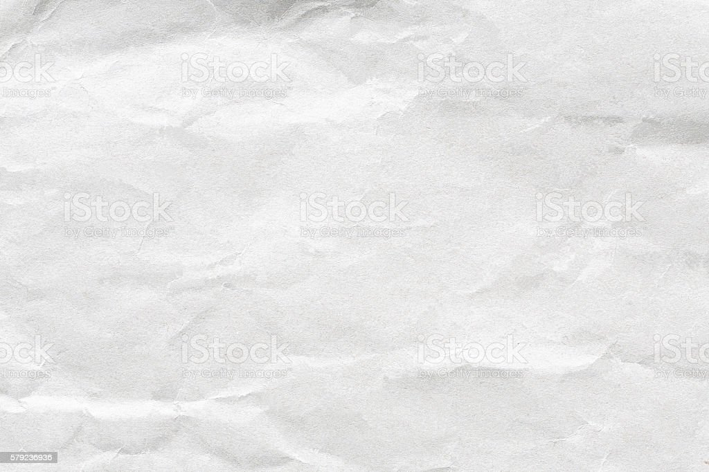 Crumpled white paper stock photo