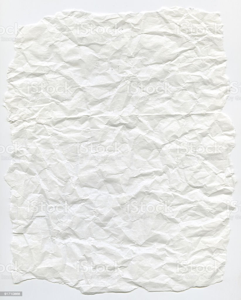 XXL Crumpled White Vellum Paper royalty-free stock photo