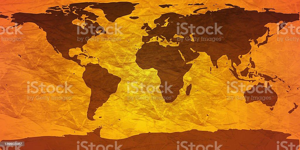 crumpled world map royalty-free stock photo