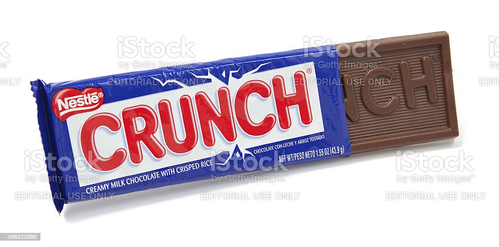 Crunch Chocolate Candy Bar Unwrapped stock photo