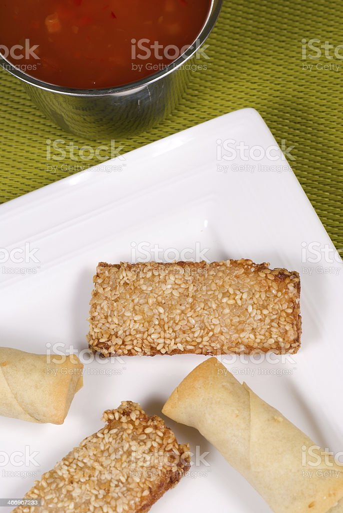 Crunchy Chinese appetizers royalty-free stock photo
