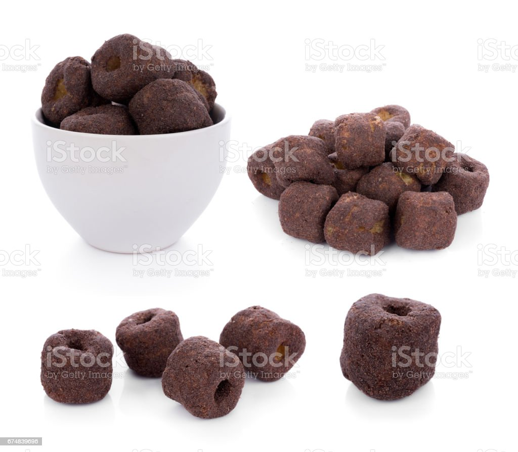 Crunchy corn chocolate snacks on a white background stock photo