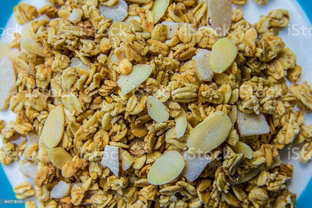 crunchy fresh muesli with oats and nuts stock photo