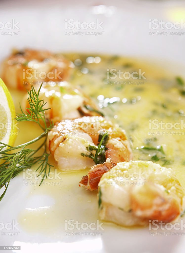 Crunchy Fried Prawns with butter royalty-free stock photo