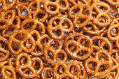 Crunchy snack pretzel background