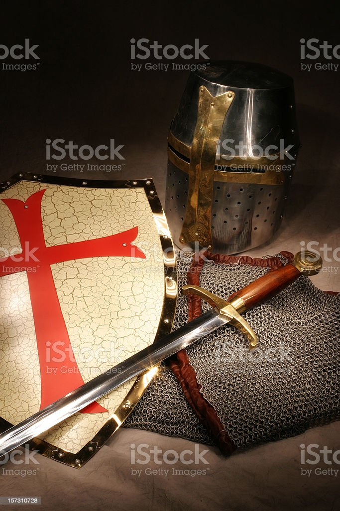 Crusader Knight's Shield, Sword, Helmet, and Chain Mail Armor stock photo