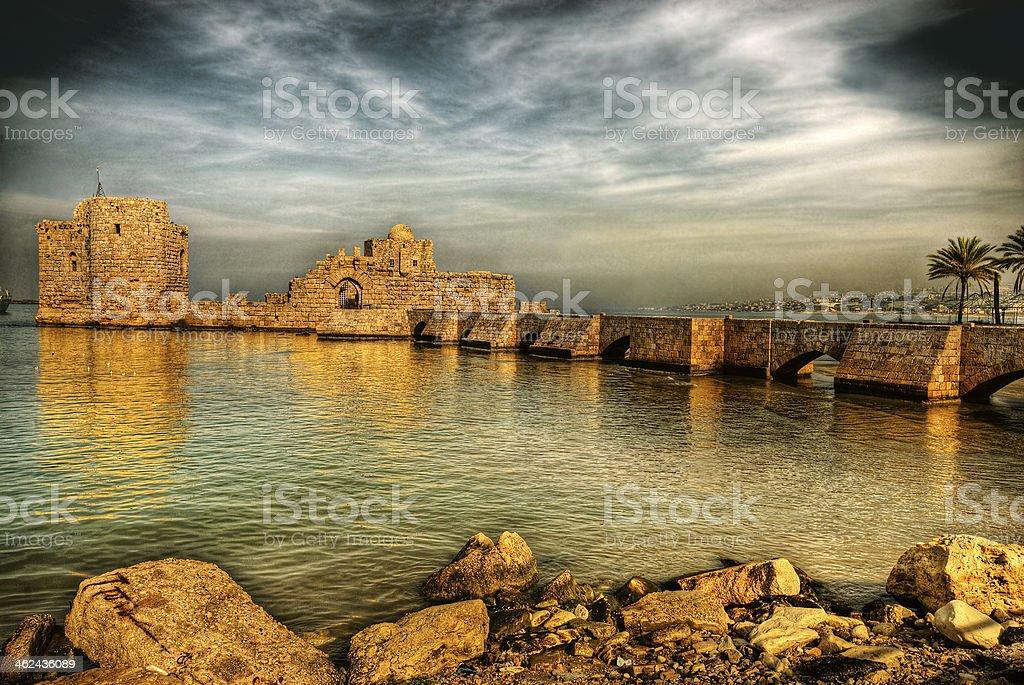 Crusader Sea Castle, Sidon, lebanon stock photo