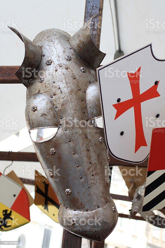 Crusaders hors armor stock photo