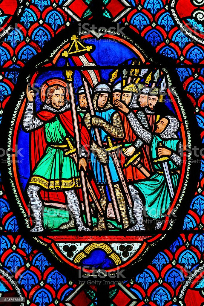 Crusaders - Stained Glass in Cathedral of Tours, France stock photo