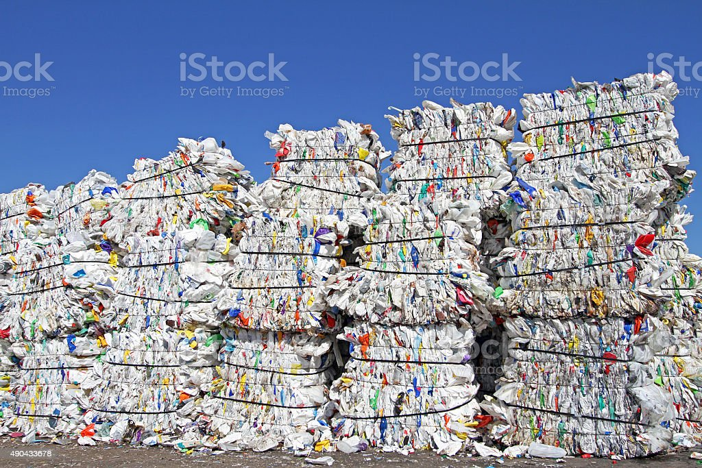Crushed And Bundled Plastic Containers Ready For Shipment stock photo