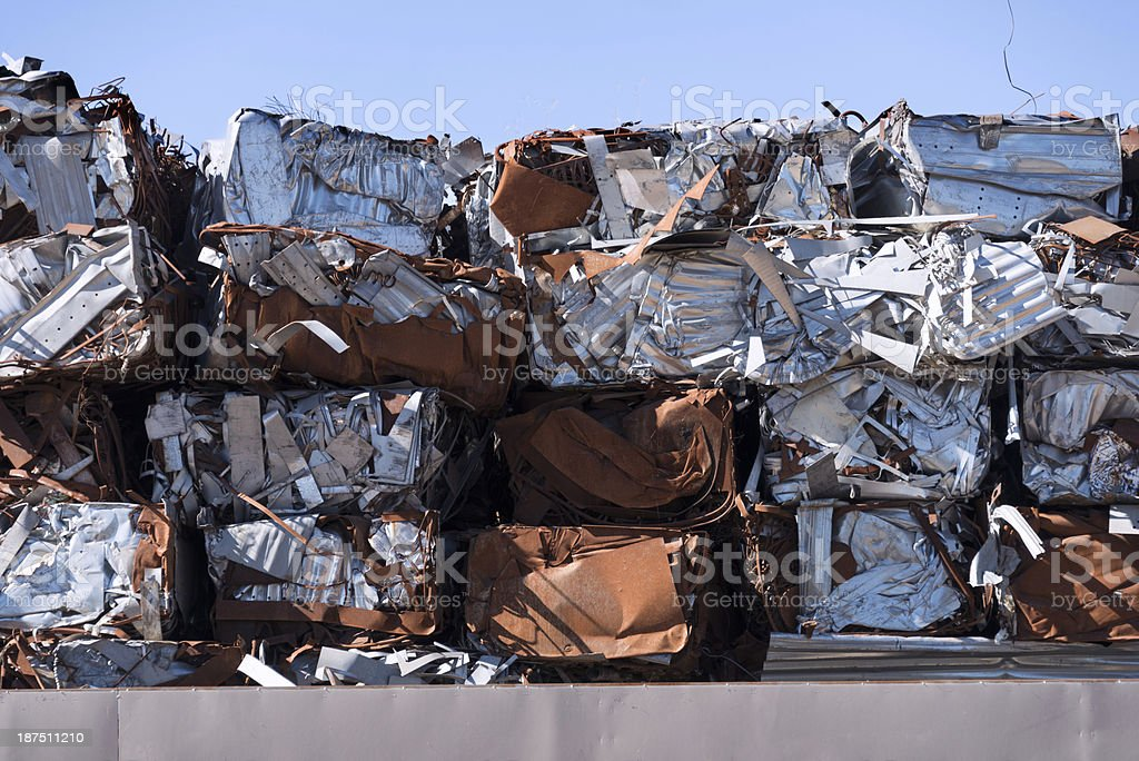 Crushed baled metal for recycling royalty-free stock photo