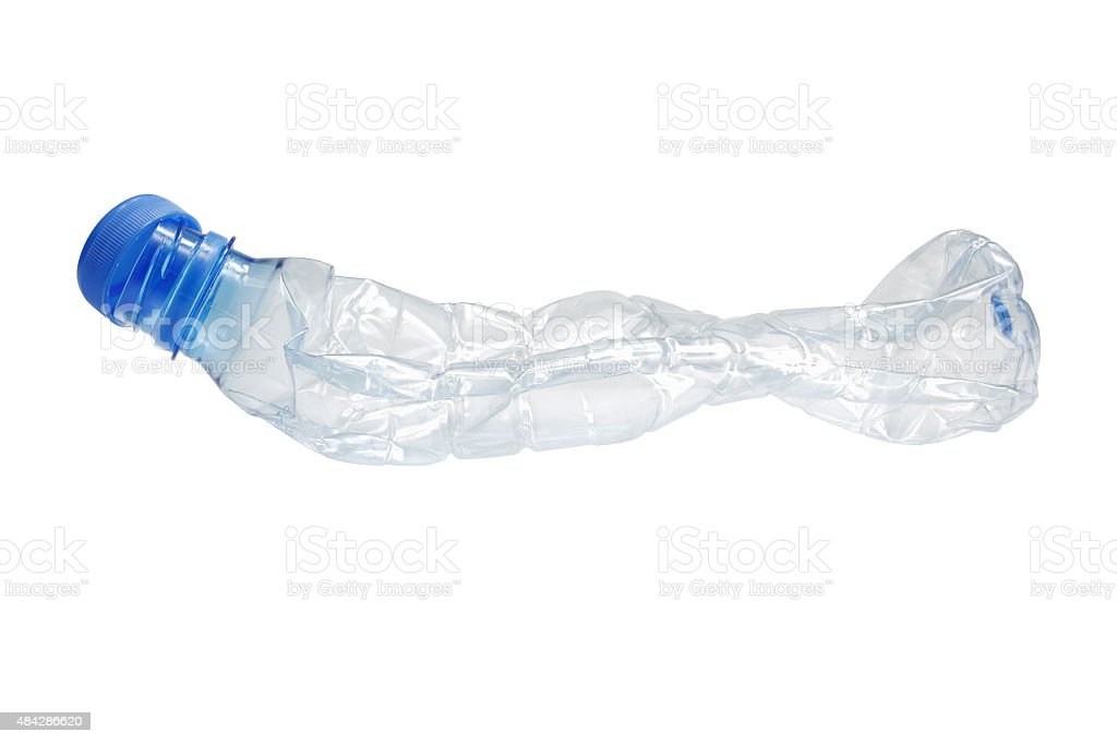 Crushed Bottle (with Clipping Path) stock photo