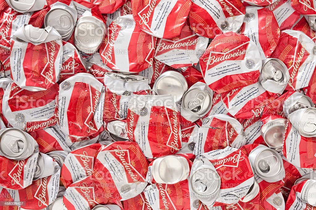 Crushed Budweiser beer cans royalty-free stock photo