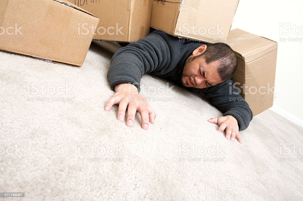 crushed by moving in boxes royalty-free stock photo