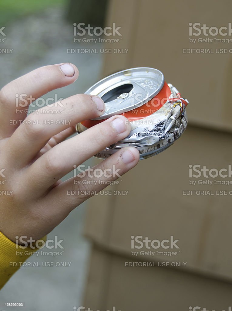 Crushed Can stock photo