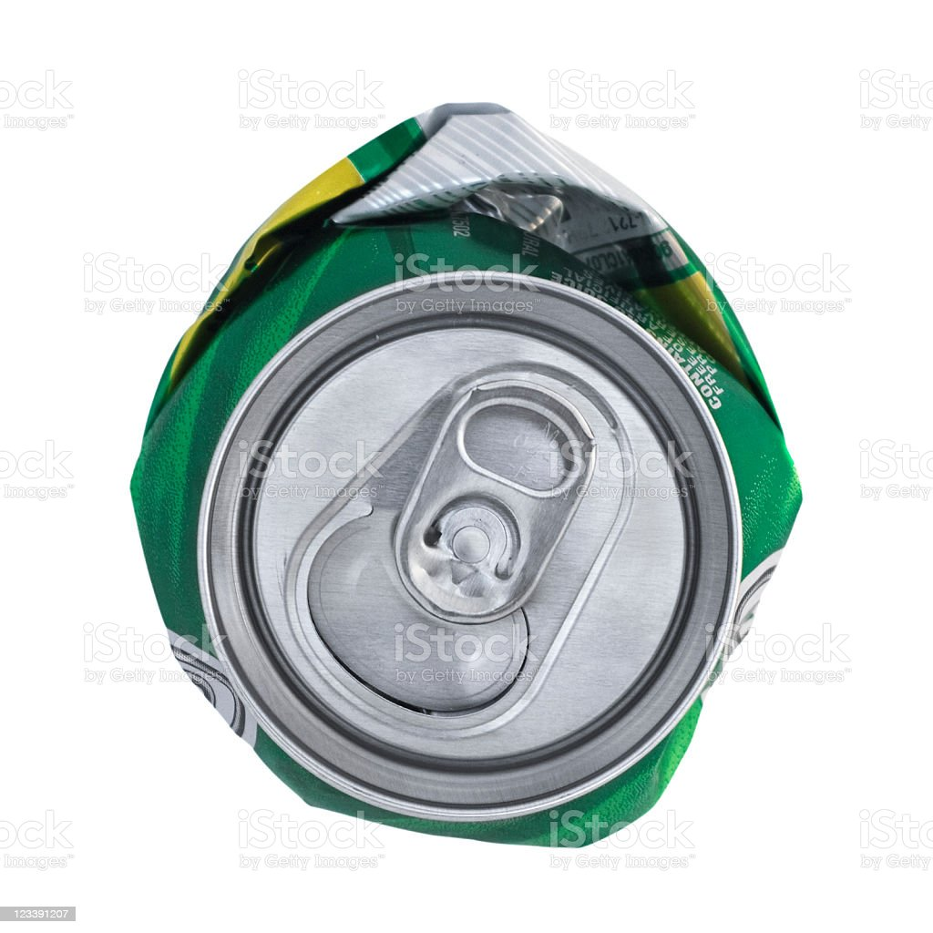 Crushed Can With Clipping Path stock photo