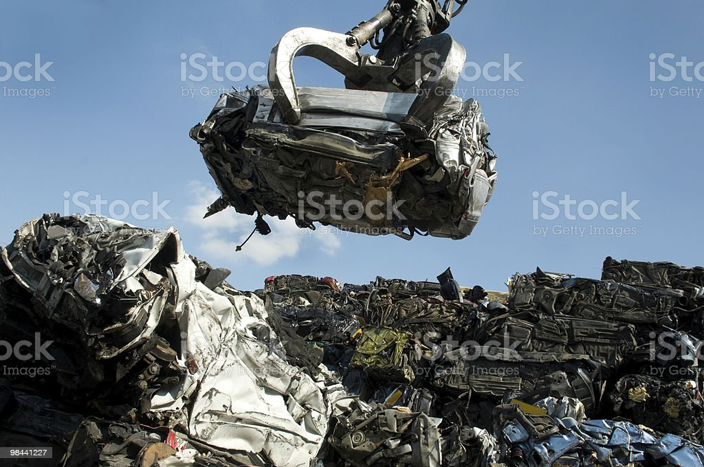 crushed car stock photo