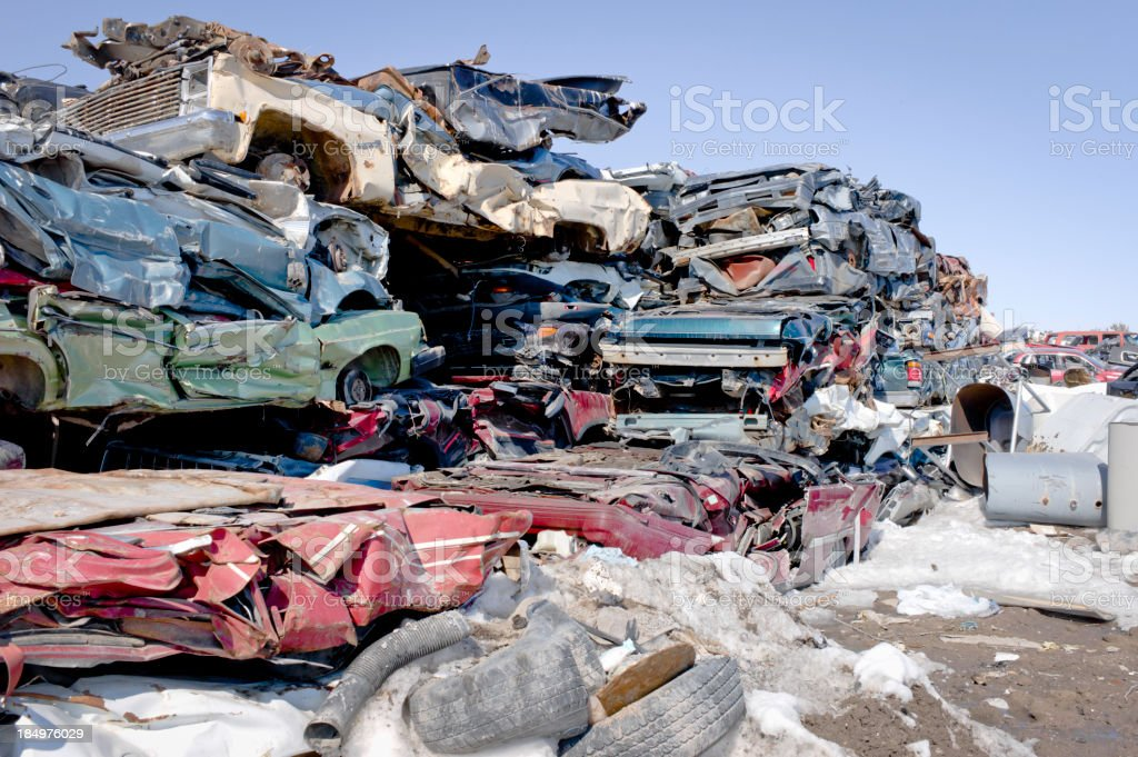 Crushed Cars and Trucks. royalty-free stock photo