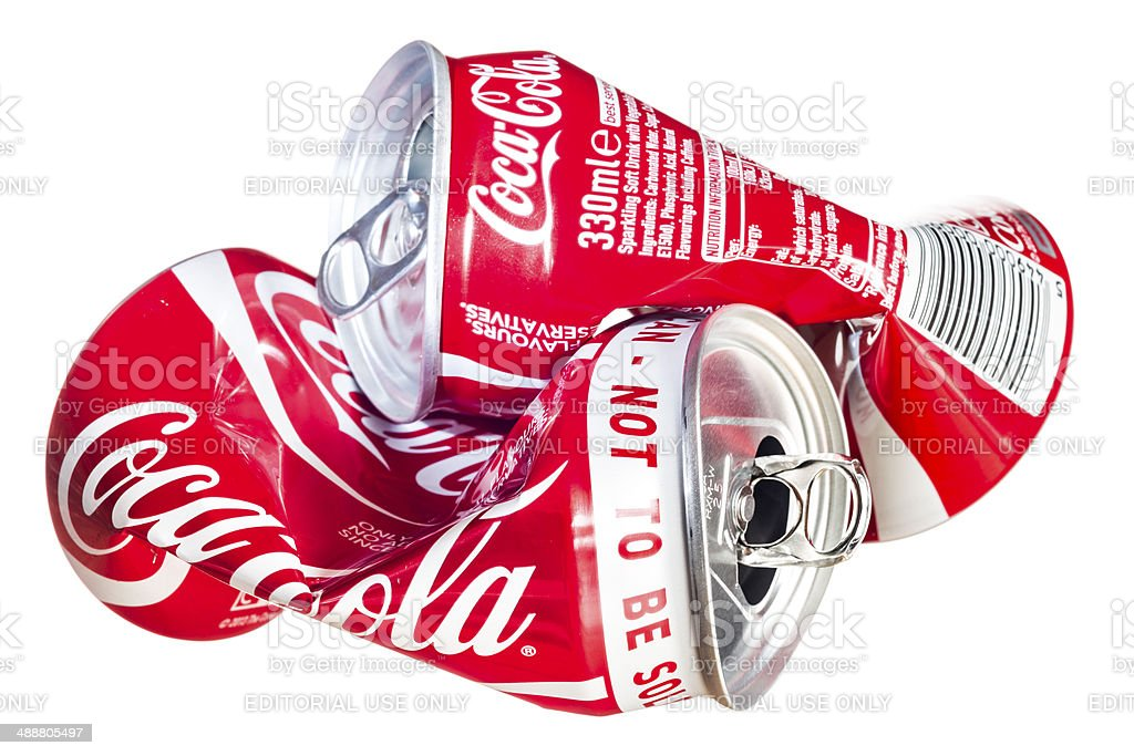 Crushed Coke cans royalty-free stock photo