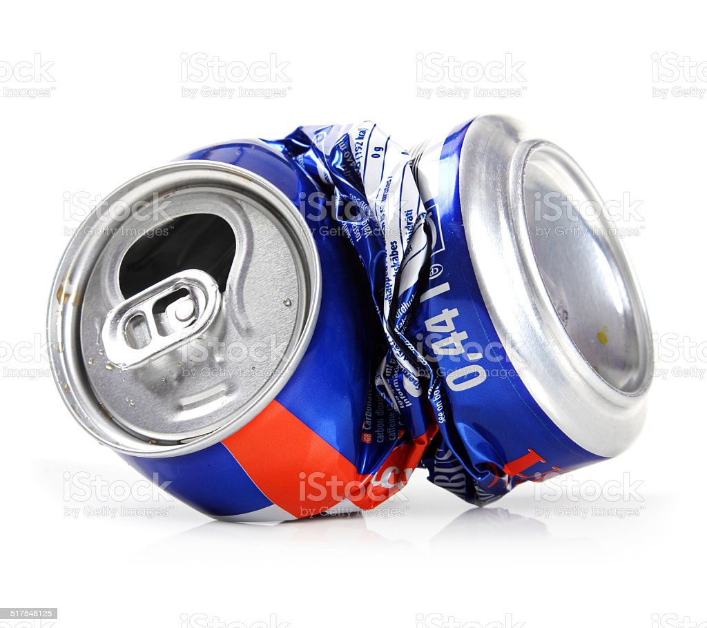 crushed drink can isolated on white stock photo