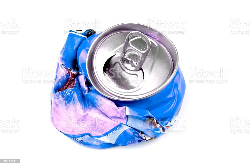 Crushed drink can isolated. stock photo