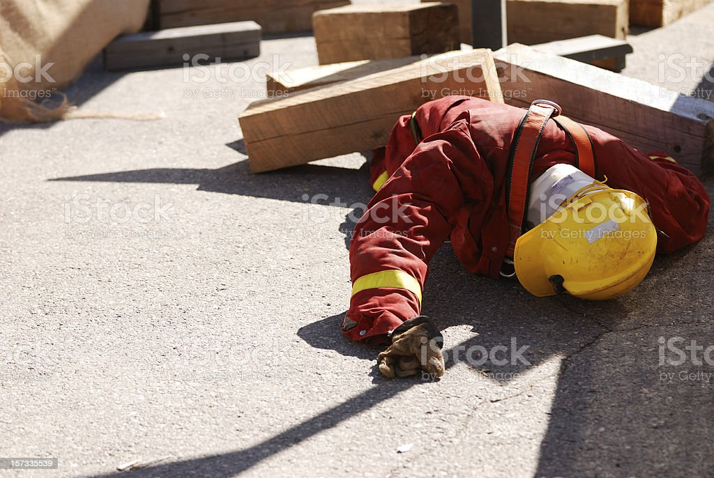 Crushed Dummy, construction safety course. royalty-free stock photo