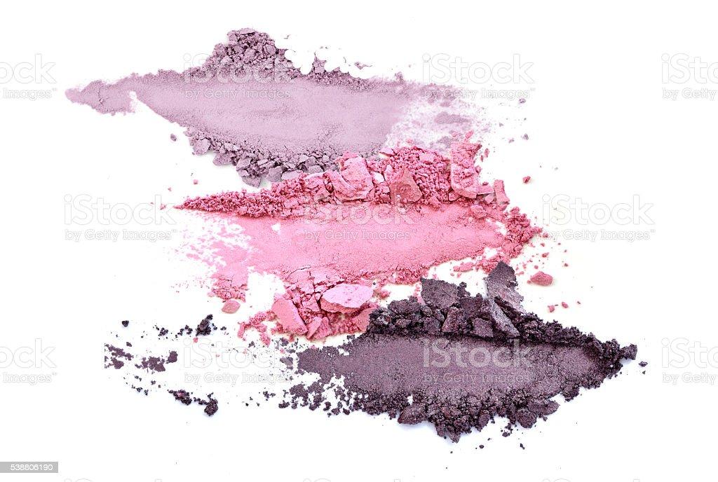 crushed eye shadow makeup set isolated stock photo