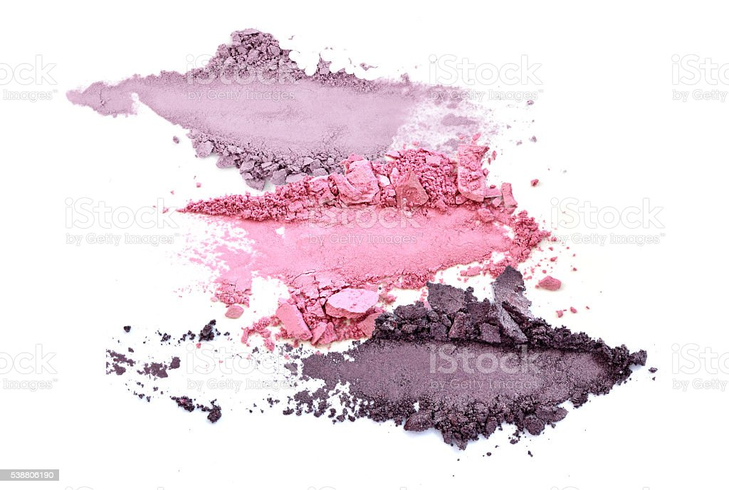 crushed eye shadow makeup set isolated stock photo