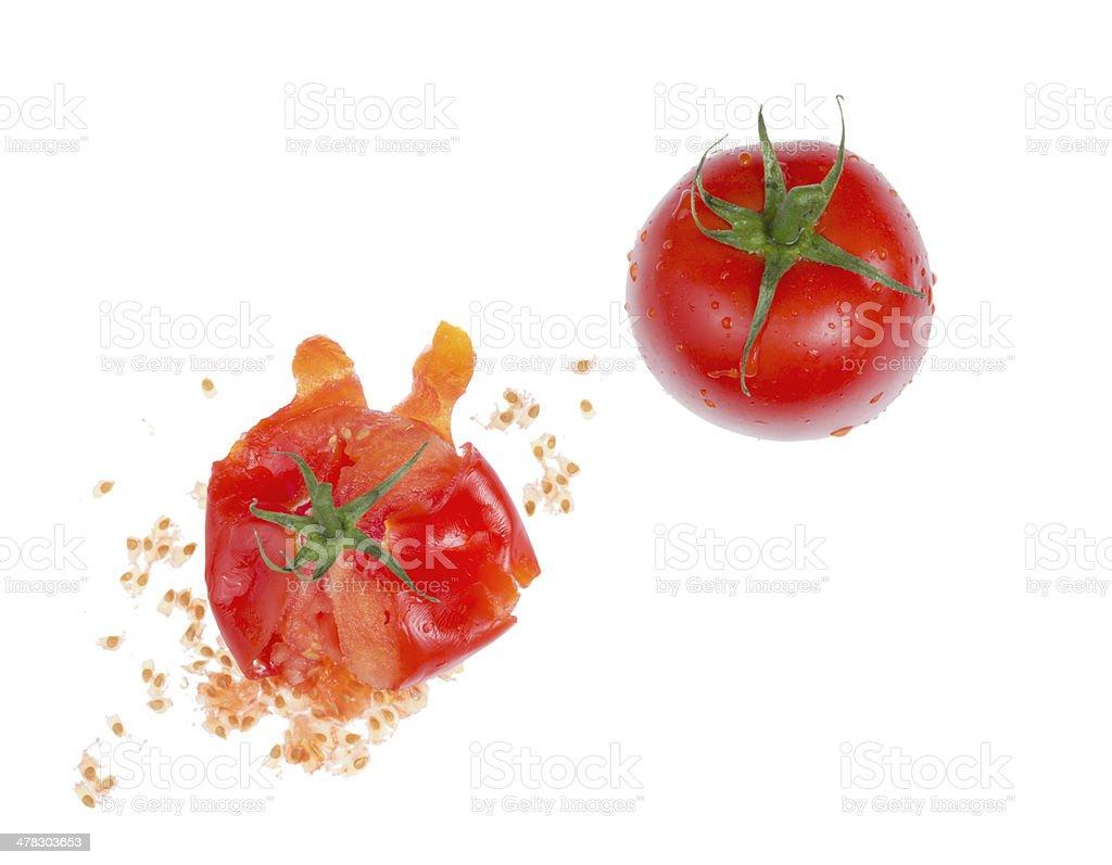 Crushed  fresh tomato. stock photo