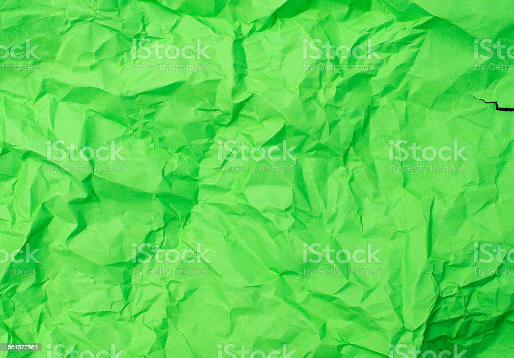 Crushed green paper stock photo