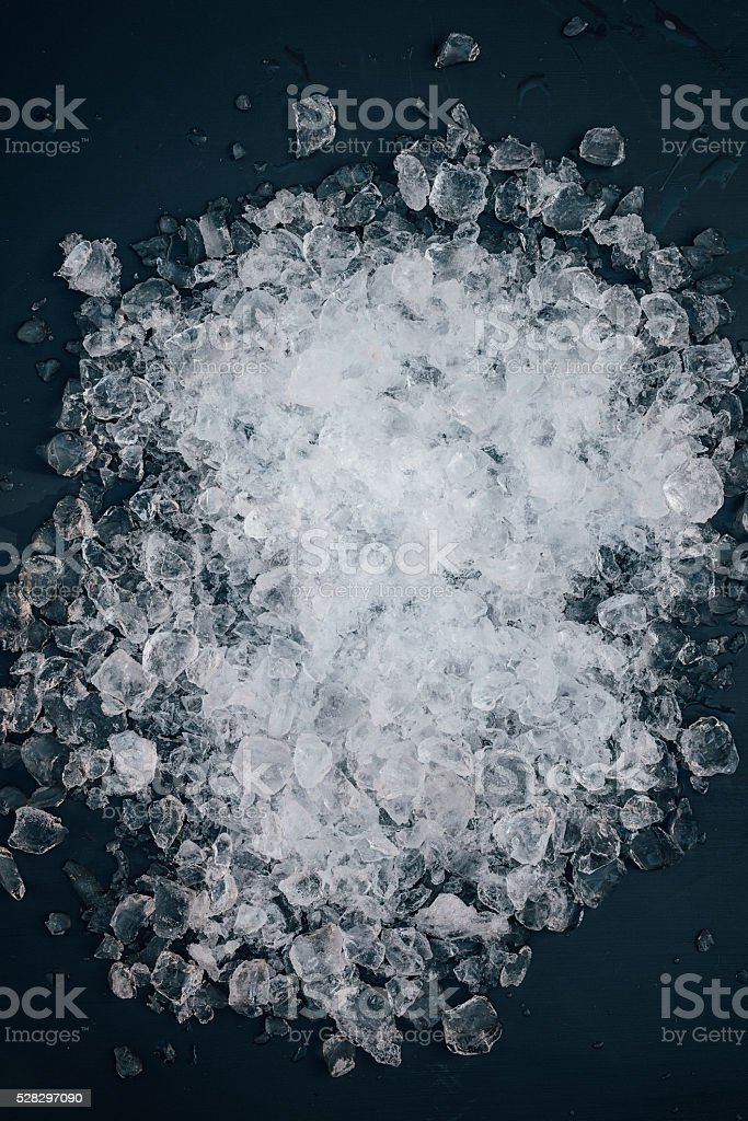Crushed ice from above background stock photo