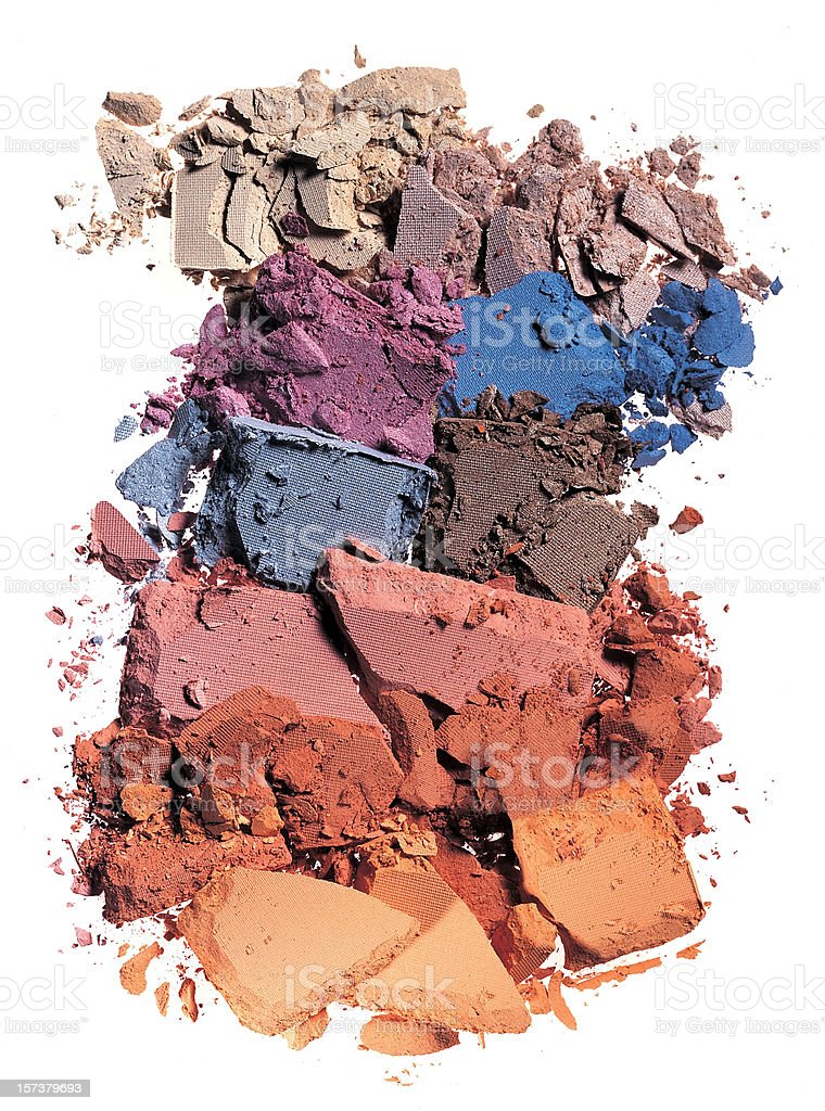 Crushed makeup of various colors stock photo