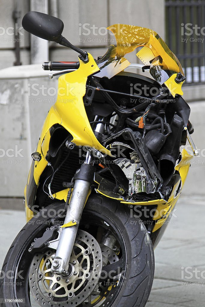 Crushed motorcycle royalty-free stock photo