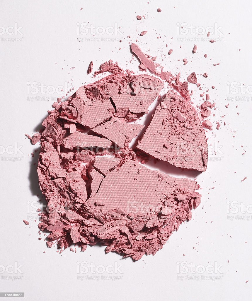crushed pink face powder stock photo