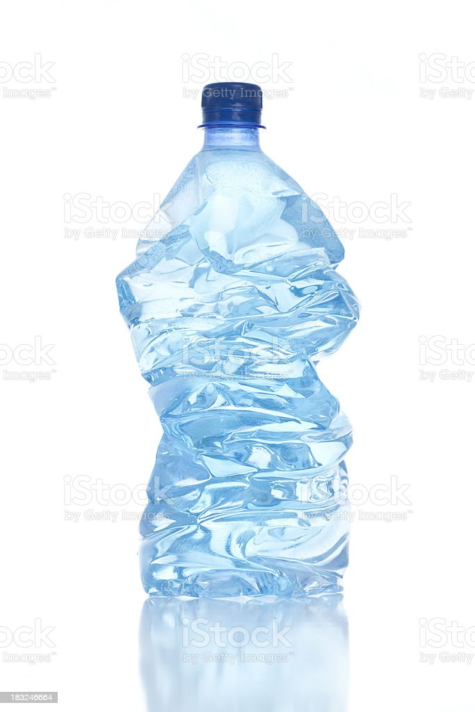 Crushed plastic bottle for trash. royalty-free stock photo