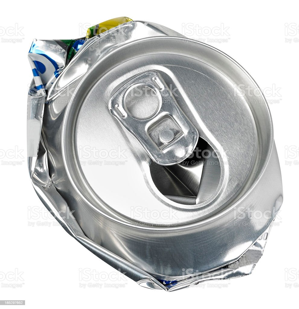 Crushed soda can viewed from the top royalty-free stock photo