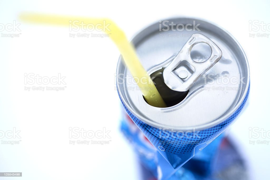 Crushed Soda Can with Straw royalty-free stock photo